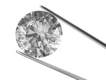 A diamond held in tweezers. Isolated on white. High resolution 3D image Royalty Free Stock Images