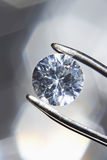 Diamond held by tweezers close-up Stock Images