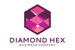 Diamond hex logo. Logo design of diamond in hexagon stock illustration