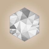 Diamond hexagon shape. Grayscale color abstract polygonal vector illustration isolated on beige background Stock Image