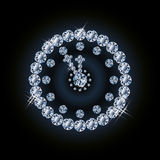 Diamond holiday xmas clock Royalty Free Stock Image