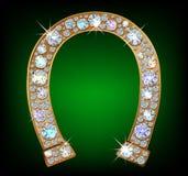 Diamond horseshoe. Golden horseshoe with shiny diamonds stock illustration