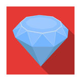 Diamond icon in flat style isolated on white background. Precious minerals and jeweler symbol stock vector illustration. Royalty Free Stock Photos