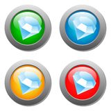 Diamond icon glass button set Royalty Free Stock Photography