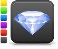 Diamond Icon On Square Internet Button Stock Photos
