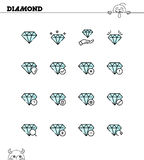 Diamond icon set Stock Photos