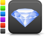 Diamond icon on square internet button Stock Photos