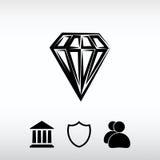 Diamond icon, vector illustration. Flat design style Royalty Free Stock Image