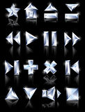 Diamond icons. Diamond cut multimedia icons on a black mirror background: pause, home, loading, plus, further, game Stock Image