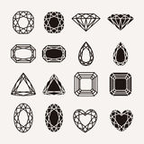Diamond icons. Diamond, gem, jewel icons set isolated vector illustration Royalty Free Stock Photo