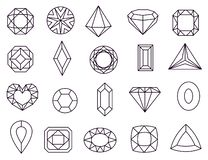 Free Diamond Icons. Jewels Diamonds Gems, Diamantes Luxury Jewel Gemstones And Precious Gem. Crystal Jewellery Gems Line Royalty Free Stock Photos - 155726408