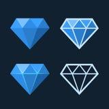 Diamond Icons Set. Flat Style Logo. Vector royalty free illustration