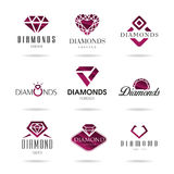 Diamond  icons set Royalty Free Stock Photography