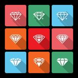 Diamond Icons Set with Long Shadow Royalty Free Stock Photos