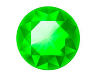 Diamond illustration in a flat style. faceted gem. Emerald Stock Image