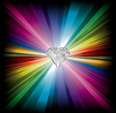 Diamond illustration on rainbow background Royalty Free Stock Photography