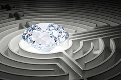 Diamond inside labyrinth maze. 3D. Rendering Royalty Free Stock Photography