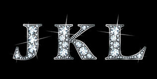 Diamond J, K, L. Stunningly beautiful J, K and L set in diamonds and silver Royalty Free Stock Photo