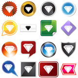 Diamond Jewel Variety Icon Set. Diamond jewel set isolated on a white background Royalty Free Stock Images