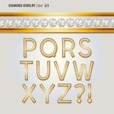 Diamond Jewelry Alphabet Vector classico Immagini Stock