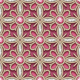 Diamond jewelry background, seamless pattern. Vector jewelry background in retro style, pink ornament, filigree seamless pattern with diamonds and gems Royalty Free Stock Photos