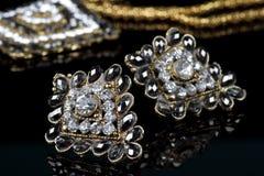 Diamond Jewelry Earrings Pair preto fotografia de stock royalty free
