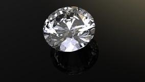 Diamond. Jewelry gems roung shape on black background Royalty Free Stock Image