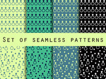 Diamond jewelry. Set of seamless patterns with diamonds and rings. The faceted diamond. Stock Photography