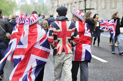 Diamond Jubilee. The Crowd. Photo taken on 3,June 2012, people wearing hats and a flags of United Kingdom (Union Jack) during the diamond jubilee of the Queen Stock Image