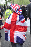Diamond Jubilee. People. Photo taken on 3,June 2012, London. A woman wearing a hat and a flag of United Kingdom (Union Jack) during the diamond jubilee of the Stock Photos