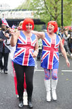 Diamond Jubilee: Twins. Photo taken on 3, June 2012, London. Two Twins celebrating the Queen´s diamond jubilee. They are wearing a United Kingdom (Union Jack) t Royalty Free Stock Photo