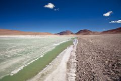 Diamond lagoon in Atacama desert Stock Image