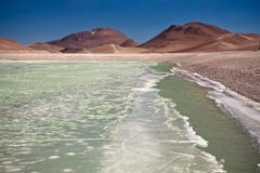Diamond lagoon in Atacama desert Stock Images