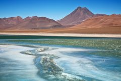 Diamond lagoon in Atacama desert royalty free stock photography
