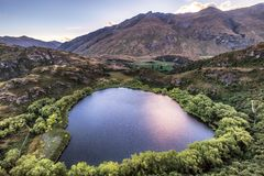 Aerial view of Diamond Lake in Wanaka, New Zealand royalty free stock image