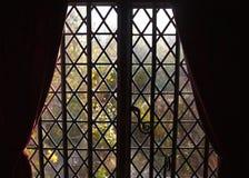Diamond lattice window trim in silhouette Stock Photo