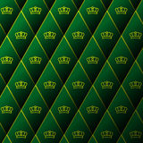 Diamond leather pattern with golden crown Stock Image