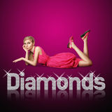Diamond letters and blond woman Royalty Free Stock Images