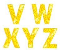 Diamond letters V, W, X, Y, Z Stock Images