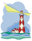 Diamond Lighthouse. Vector illustration of a red and white lighthouse Stock Images