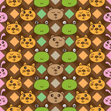Diamond line cat forg rabbit bear vertical seamless pattern. This illustration is drawing rabbit, cat, frog and bear in diamond shape line with vertical style Royalty Free Stock Photography