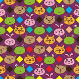 Diamond line cat frog bear rabbit seamless pattern Stock Photos