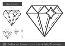 Diamond line icon. Diamond vector line icon isolated on white background. Diamond line icon for infographic, website or app. Scalable icon designed on a grid Stock Photos