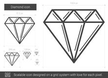 Diamond line icon. Diamond vector line icon isolated on white background. Diamond line icon for infographic, website or app. Scalable icon designed on a grid Royalty Free Stock Images