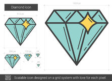 Diamond line icon. Diamond vector line icon isolated on white background. Diamond line icon for infographic, website or app. Scalable icon designed on a grid Royalty Free Stock Image