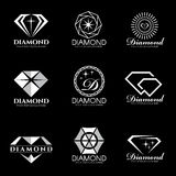 Diamond logo vector set and isolate on black background Royalty Free Stock Images