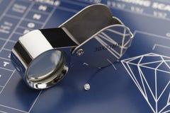 Diamond Loupe et diagramme Photo stock
