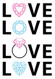 Diamond love, vector Royalty Free Stock Image