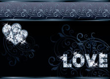 Diamond love wedding banner Royalty Free Stock Image