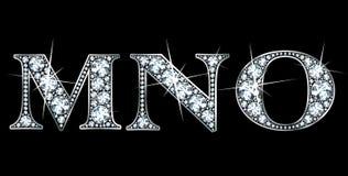 Diamond M, N, O. Stunningly beautiful M, N and O set in diamonds and silver Stock Photo